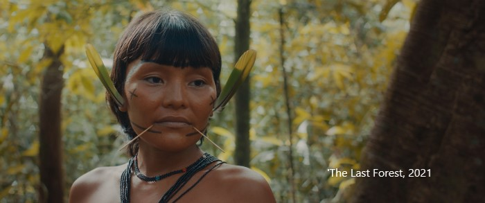 A still from the film The Las Forest featuring a woman from the Yanumami people