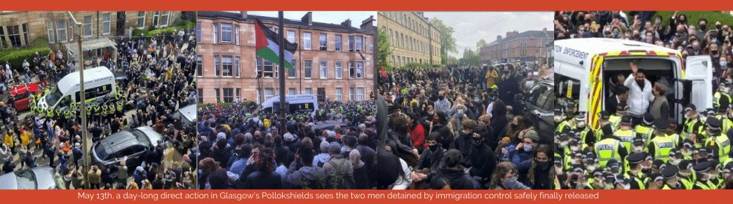 protestors stop an immigration van